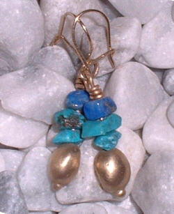 Gold 9caret earrings with turquoise and lapis lazuli beads