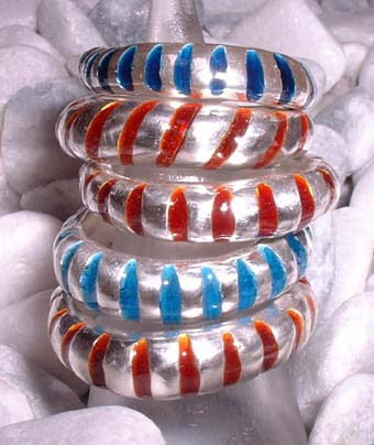 rough enamel stripy rings