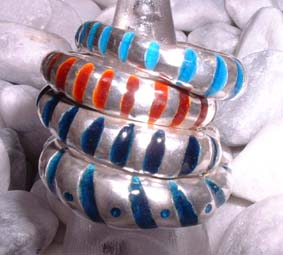 rough stripy enamel rings