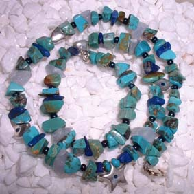 silver necklace with  turquoise,blue agate and lapis beads