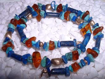 lapis lazuli ,turquoise,amber and gold bead necklace