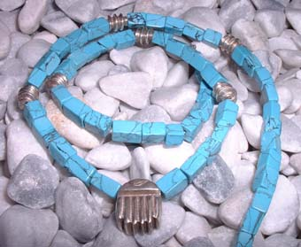 turquoise square bead necklace wth silver scrab